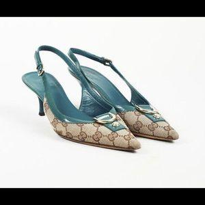 Gucci canvas sling backs size 37 kitten heel